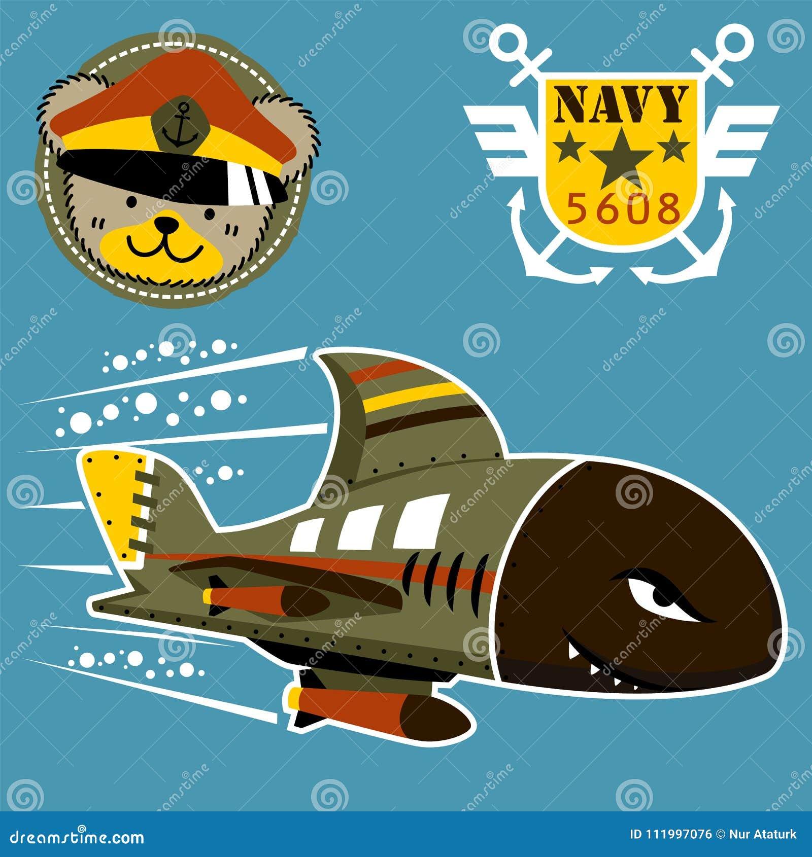 Militärunterwasserkarikatur auf Seekrieg mit Militärlogo und Truppen