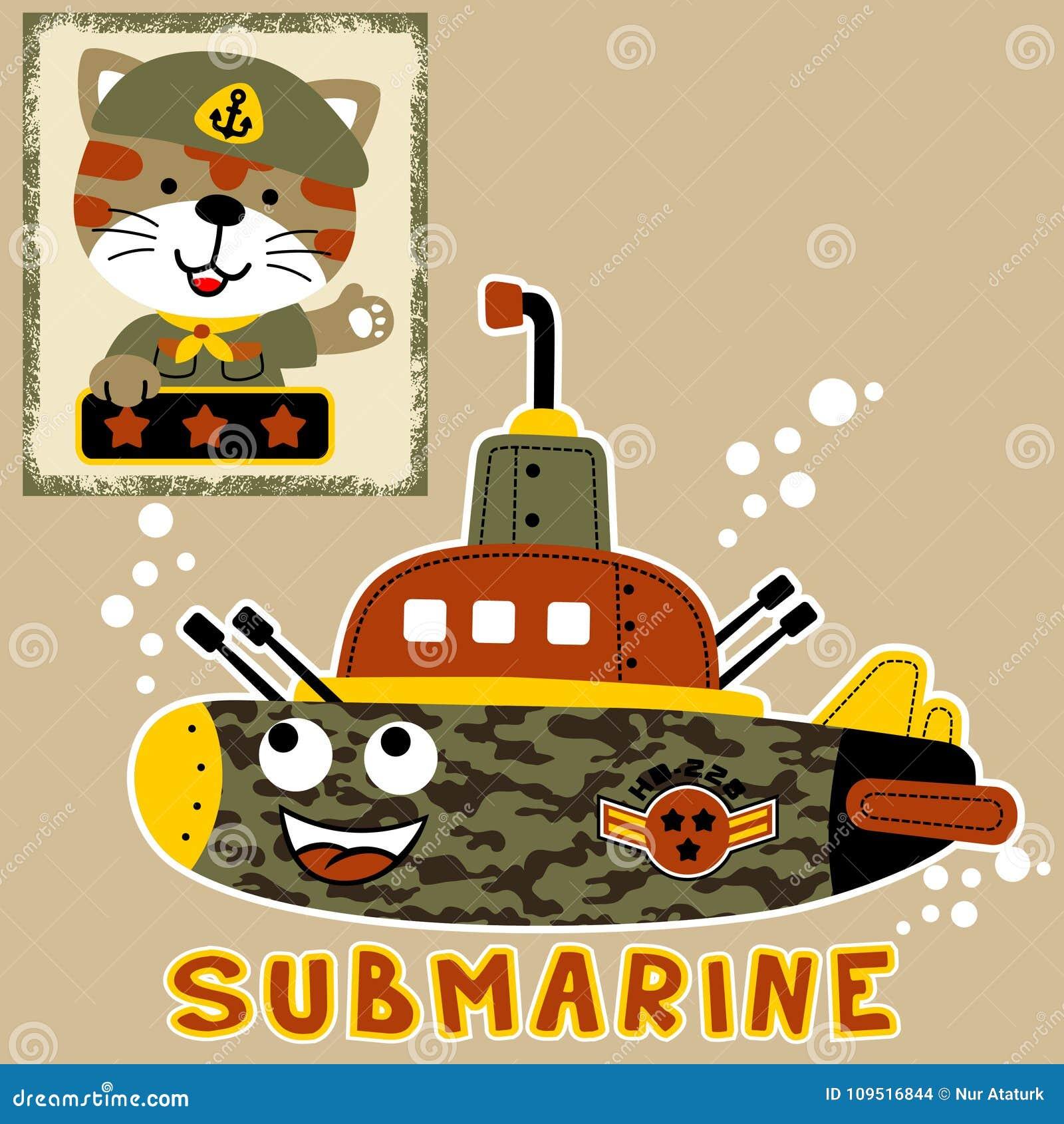 Militärunterwasserkarikatur mit lustigem Soldaten