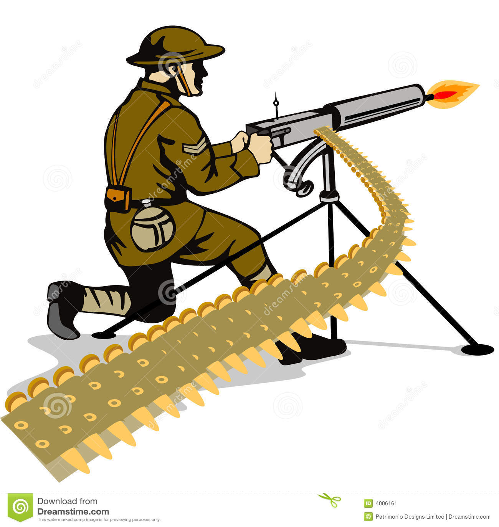 Militair die een machinegeweer in brand steekt