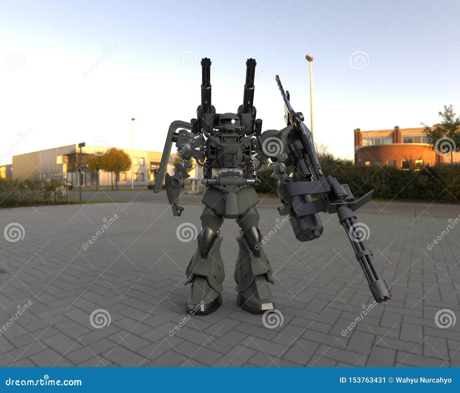 Militair sc.i-FI die me-CH zich op een landschapsachtergrond bevinden Militaire futuristische robot met een groen en grijs kleure