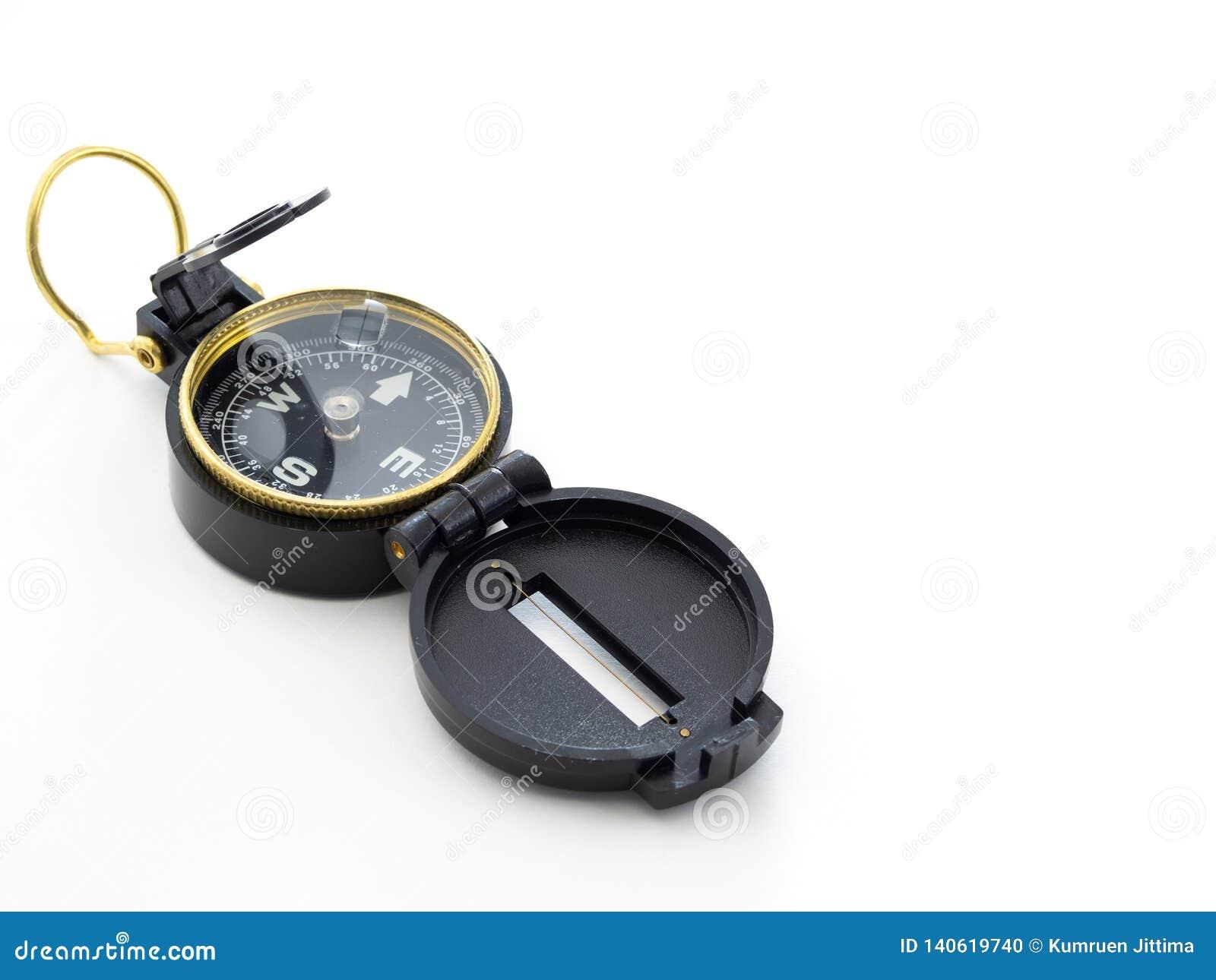Militair zwart die kompas op wit wordt geïsoleerd