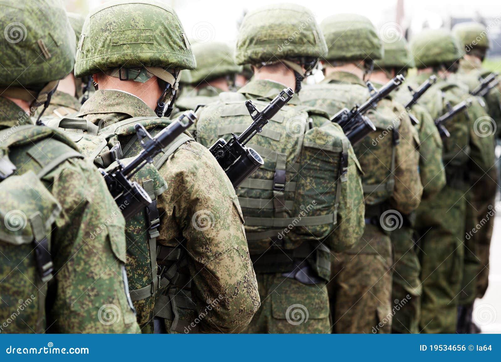 Militaire eenvormige militairrij