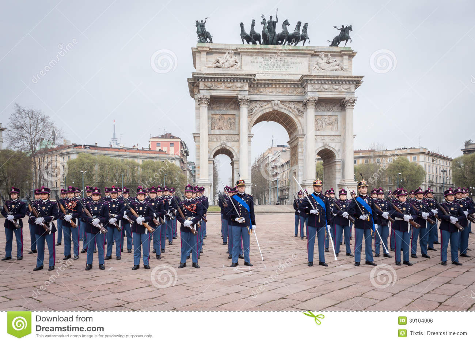 Militaire schoolkadetten in de eedceremonie