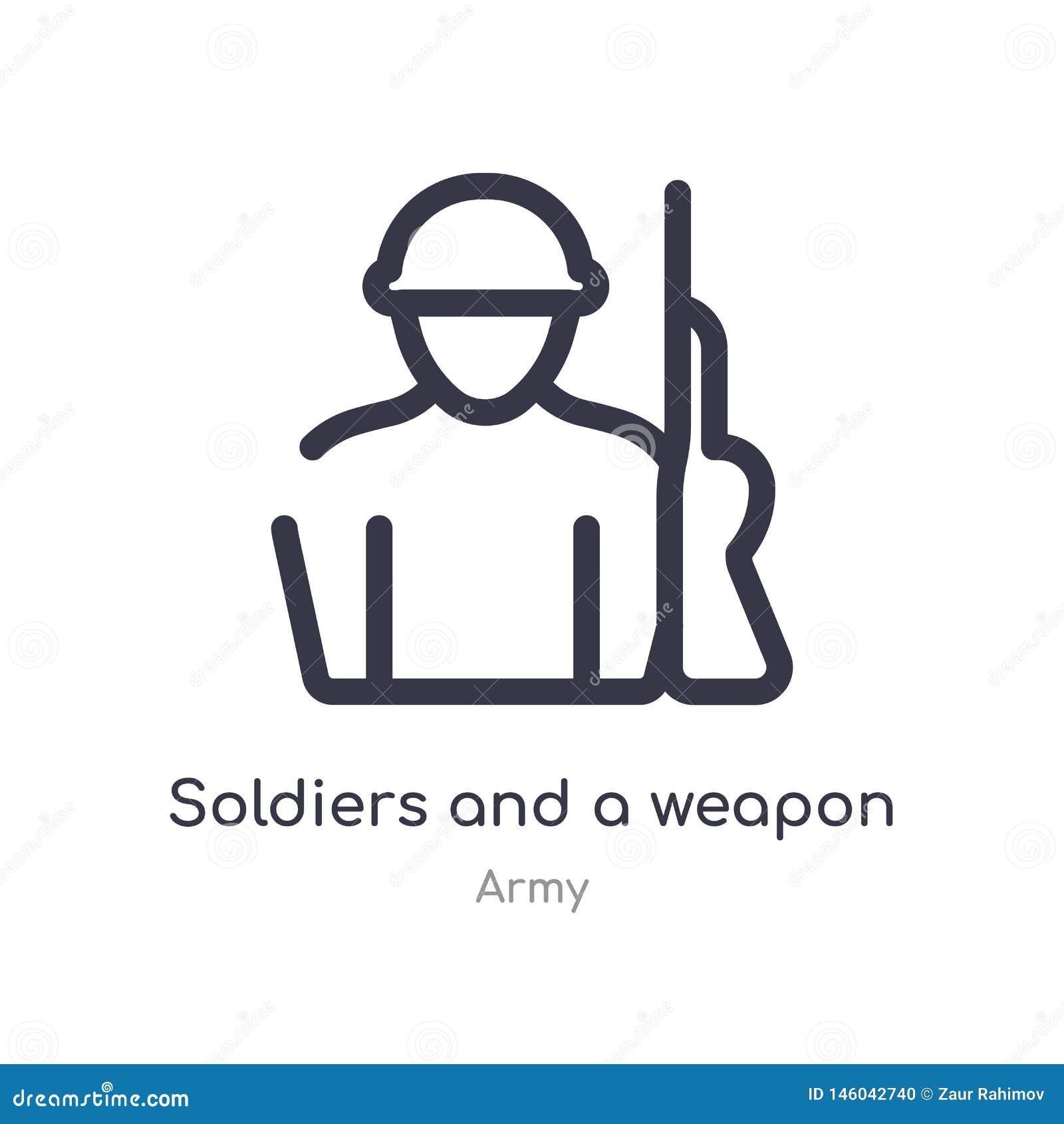 Militairen en een pictogram van het wapenoverzicht ge?soleerde lijn vectorillustratie van legerinzameling editable dunne slagmili
