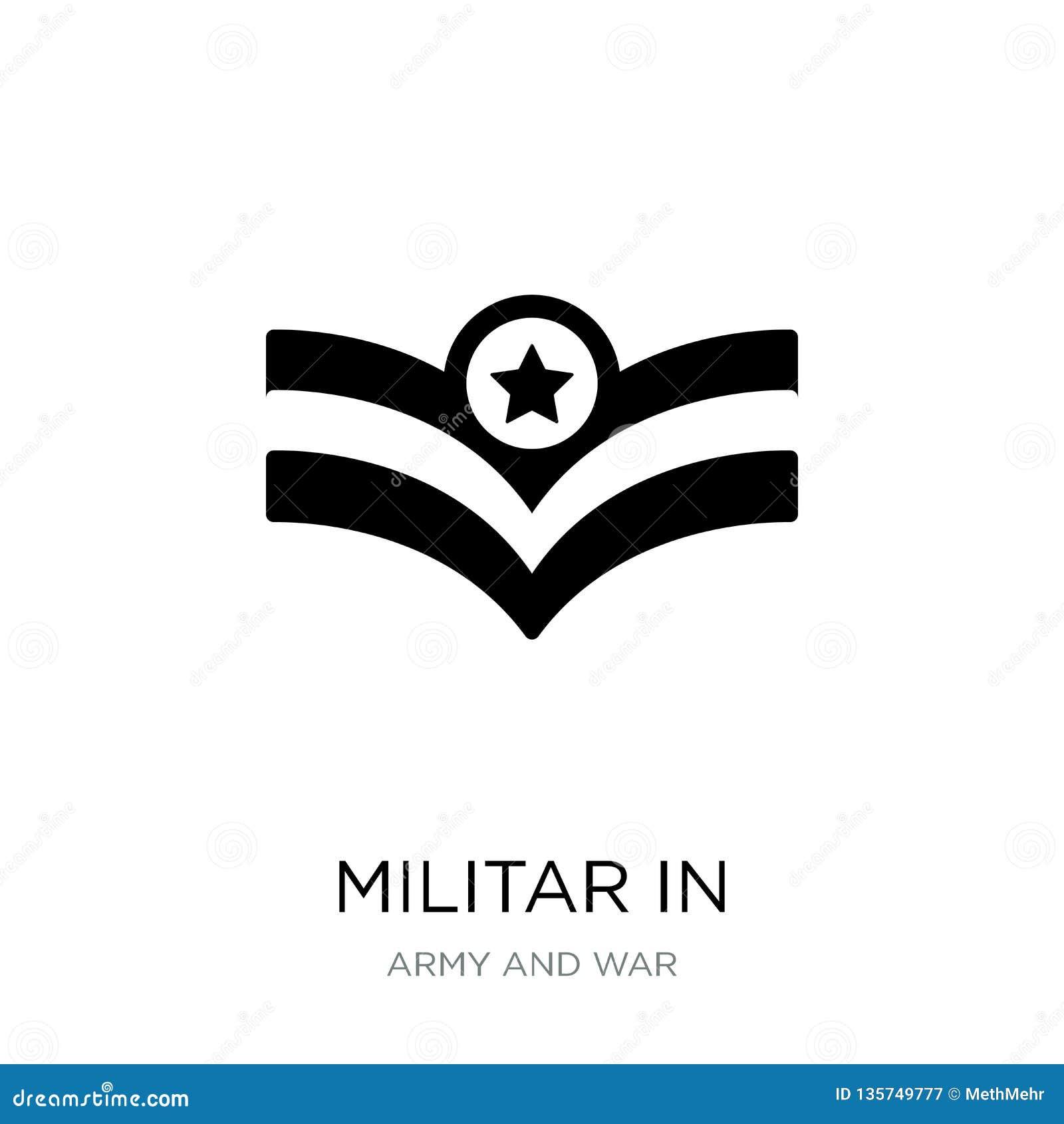 Militar i symbol i moderiktig designstil militar i symbolen som isoleras på vit bakgrund militar i den modern vektorsymbolen som