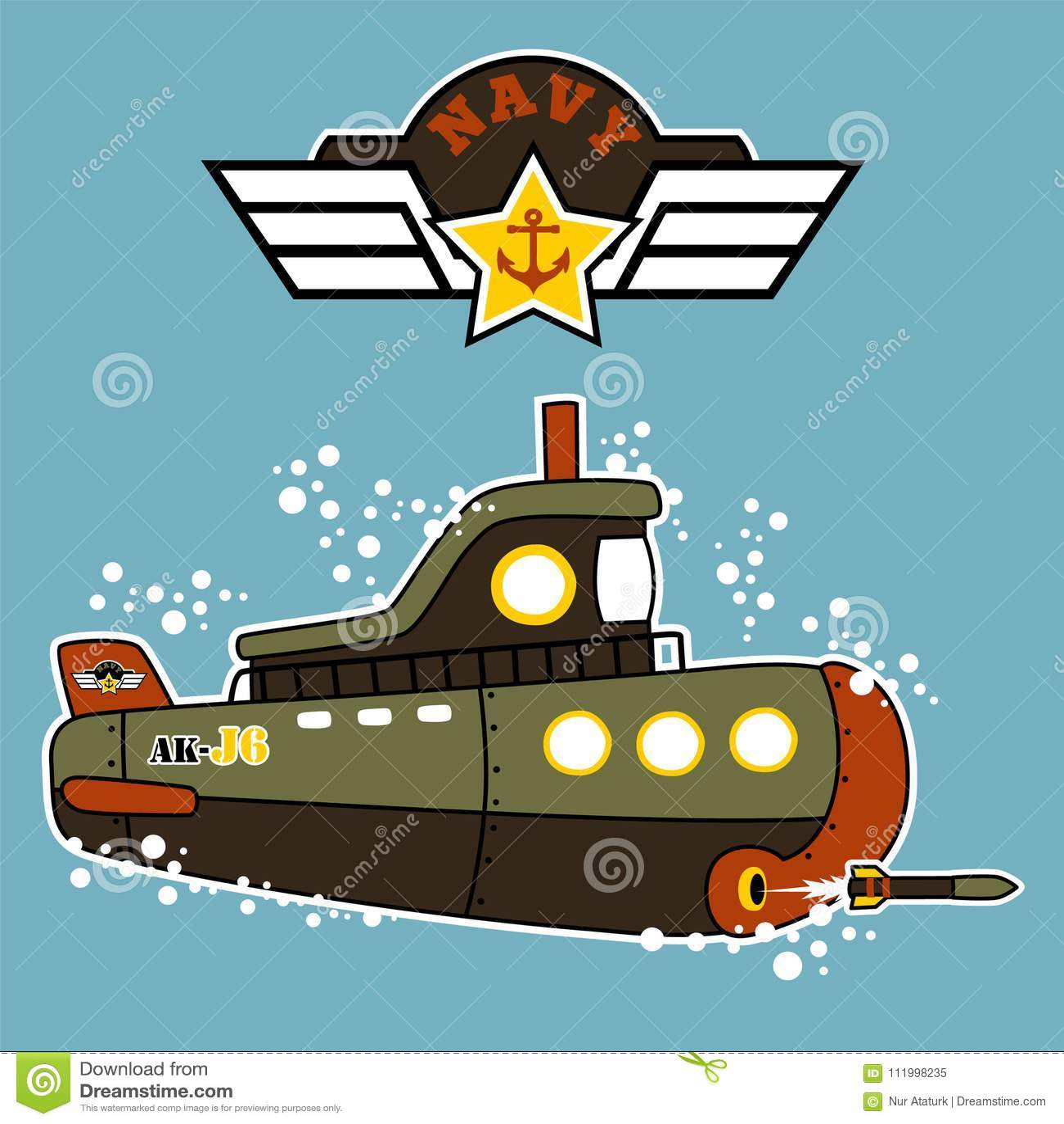 Militarna podwodna kreskówka podwodna