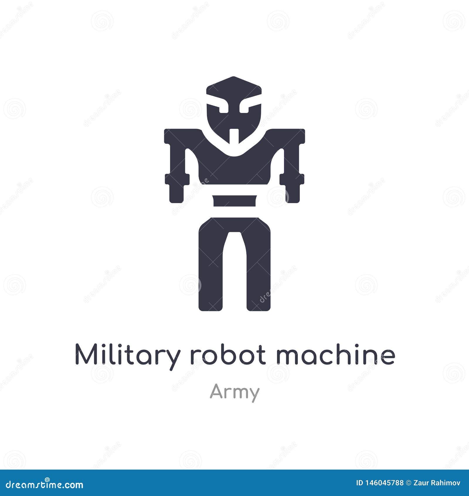 Militarna robot maszyny ikona odosobnionej militarnej robot maszynowej ikony wektorowa ilustracja od wojsko kolekcji r