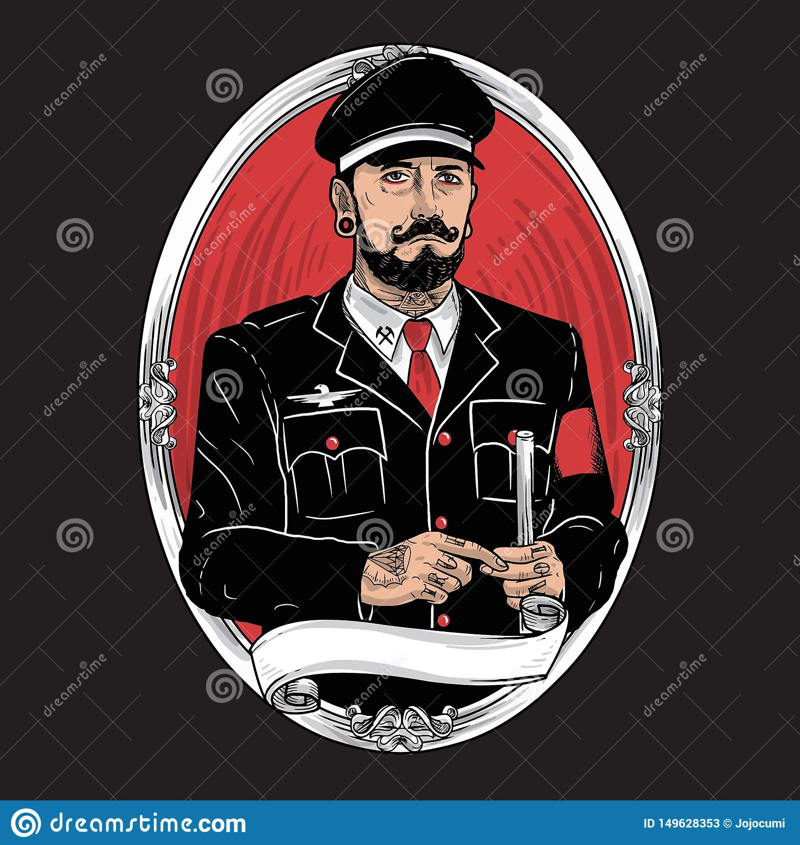 Militarnego charakteru w?sy tatua?u Brodata ilustracja