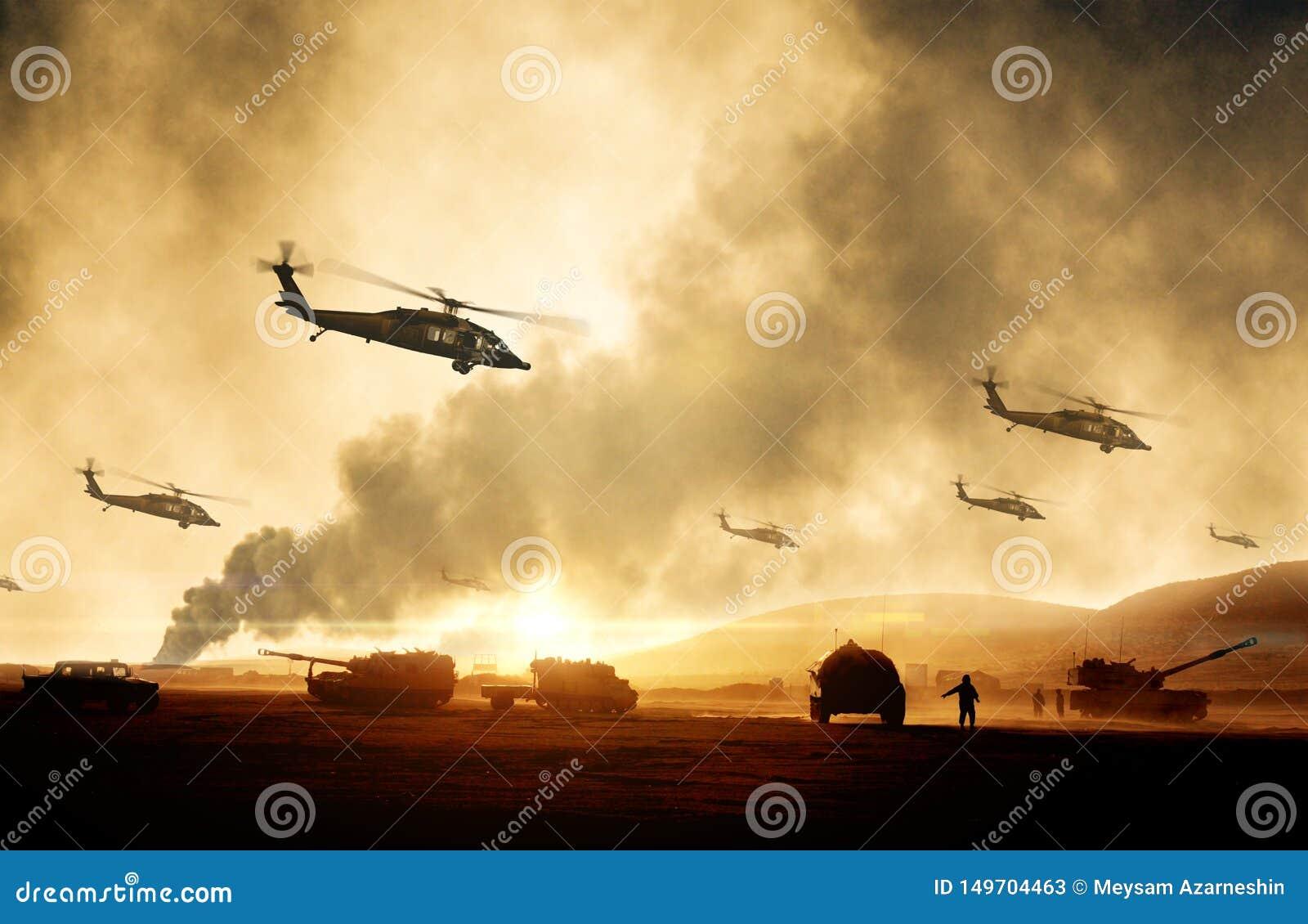 Militarni helikoptery, siły i zbiorniki w samolocie w wojnie,