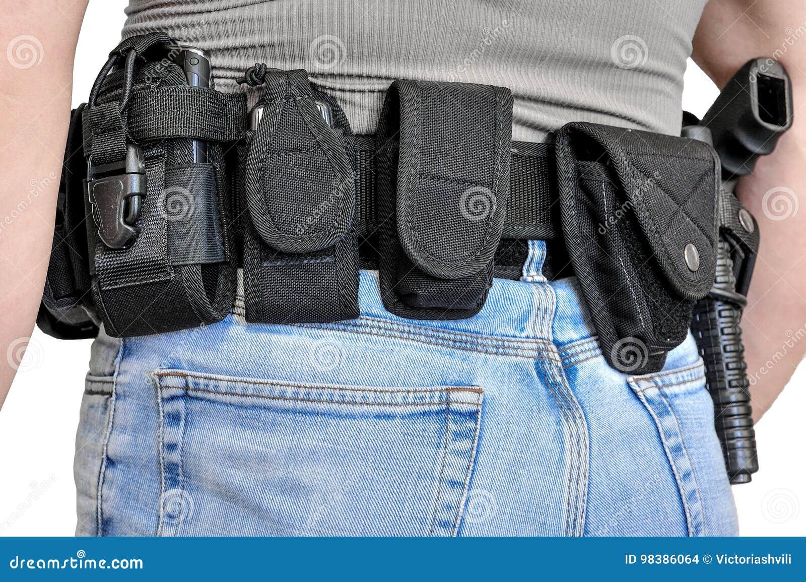 Militarny taktyczny pasek z półautomatyczną klamrą dla związku z nabojową kieszonką, umieszczającą na mężczyzna ` s pasku, odizol