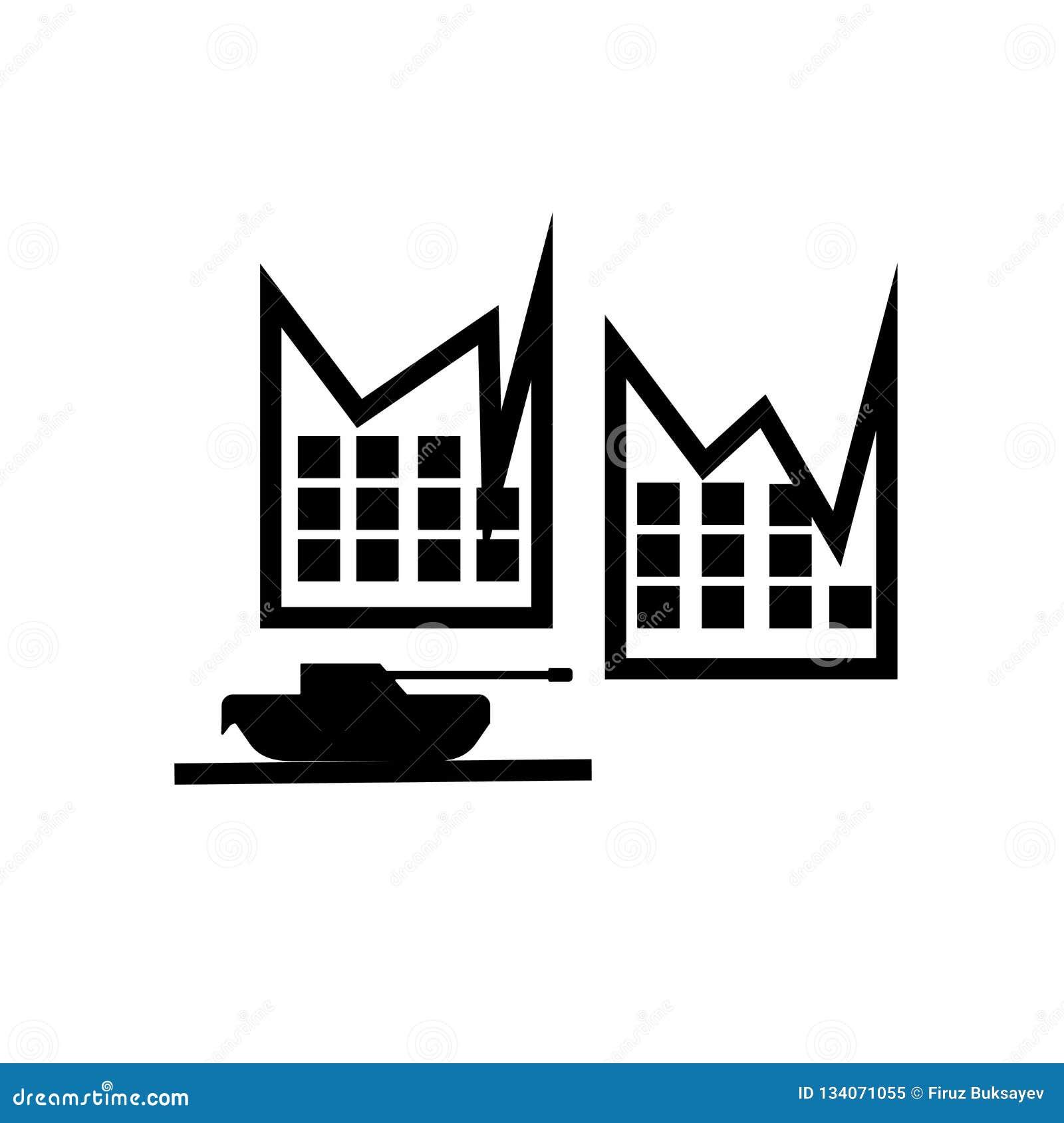 Militartank in het pictogram vectordieteken van de stadsstraat en symbool op witte achtergrond, Militar-tank in het embleemconcep