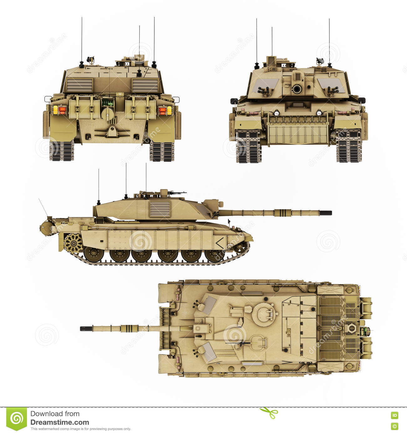 2309055c98495 Military Armored Tank Illustration With Four Views Of Detail. Top ...