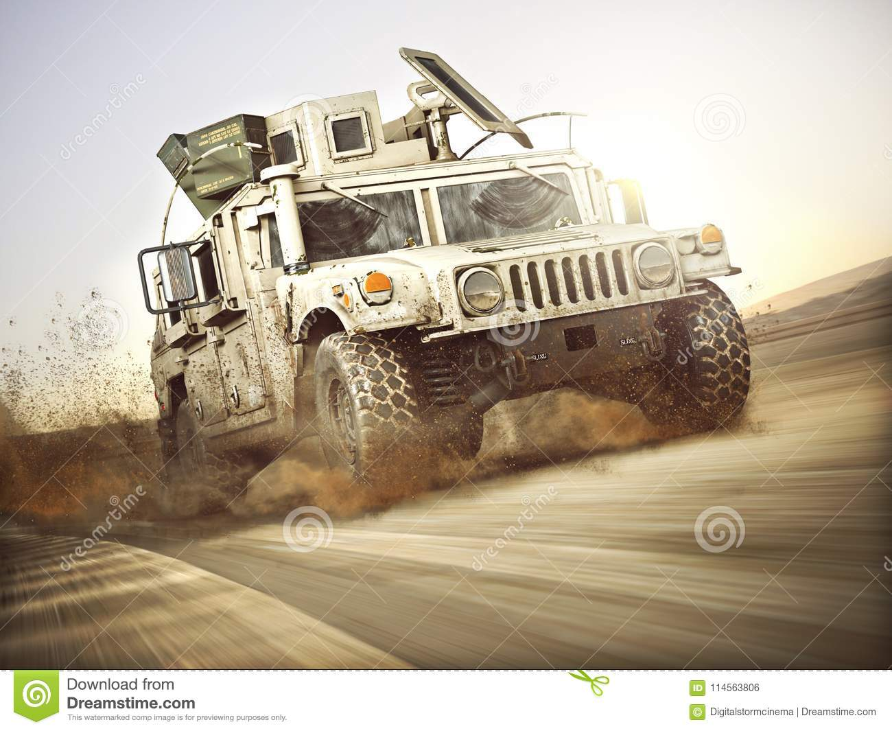 Military armored vehicle moving at a high rate of speed with motion blur over sand. Generic
