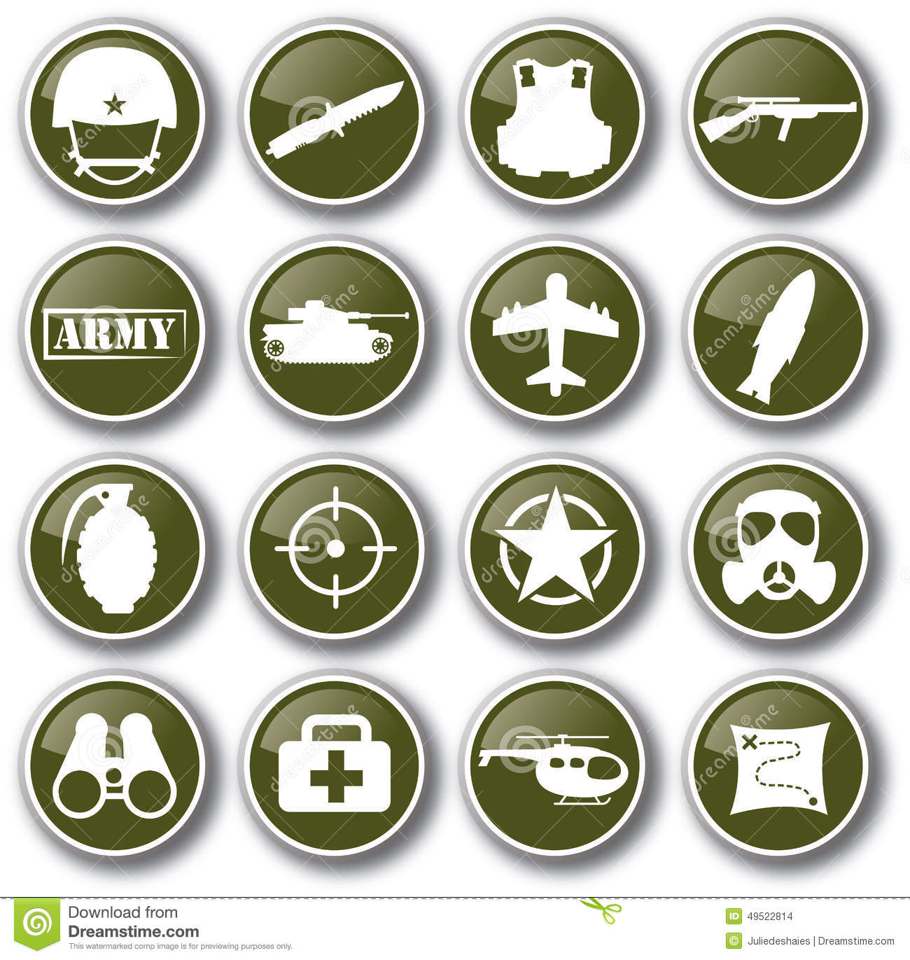 Military army icon set vector illustration.