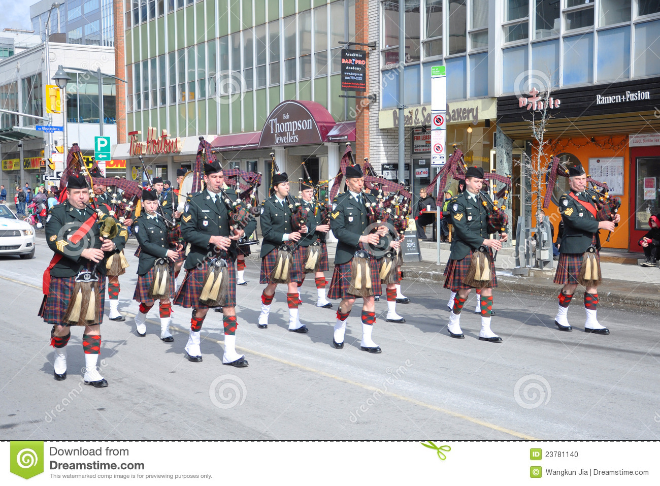 Military Bagpipers in Saint Patrick s Day parade