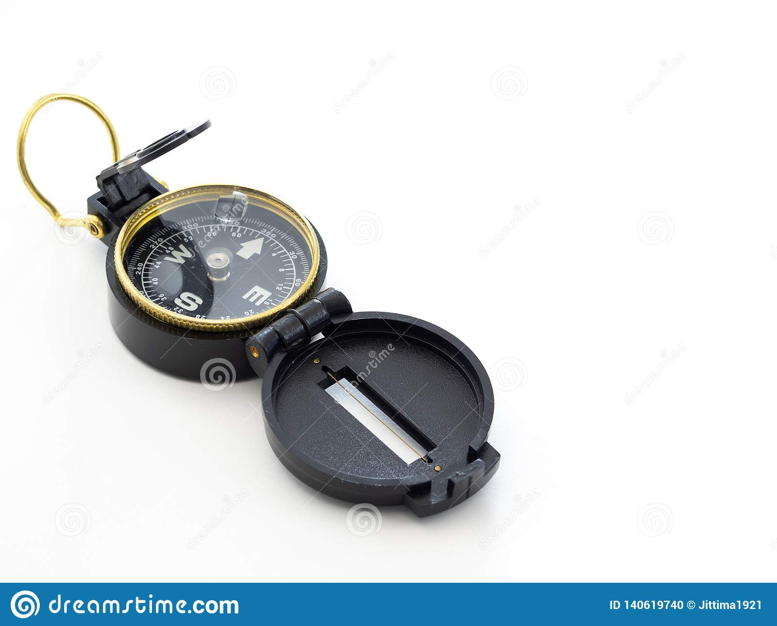 Military black compass isolated on white