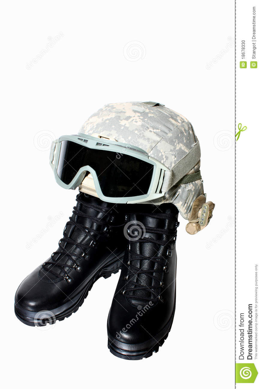 Military Boots And Helmet Stock Photo Image Of Objects