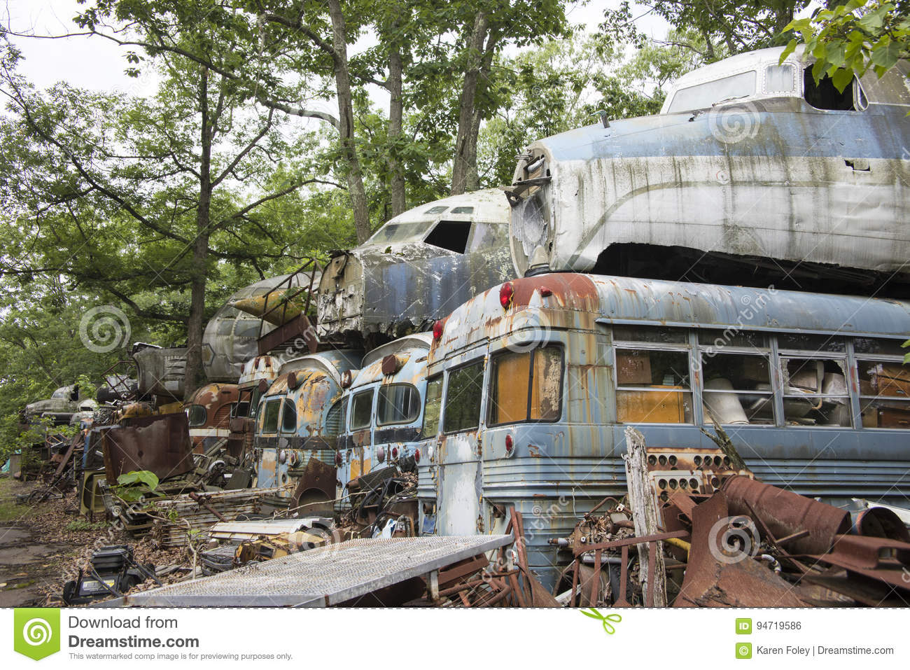 Military Buses And Aircraft In Junkyard Stock Photo - Image of