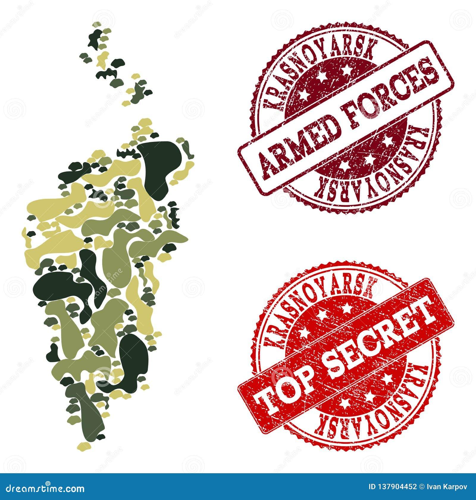 Military Camouflage Collage of Map of Krasnoyarsk Krai and Scratched Secret Stamps