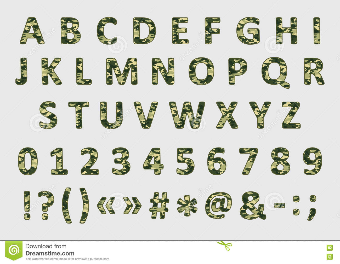 Military Camouflage Font, Vector Stock Vector - Image: 72859764