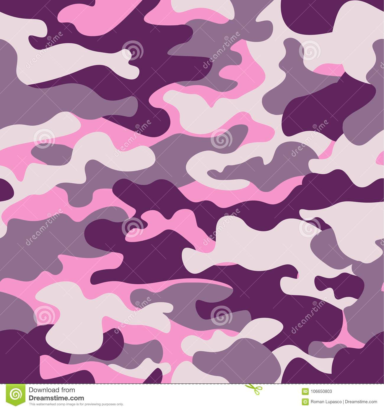 Military Camouflage Seamless Pattern Purple Monochrome Classic Clothing Style Masking Camo Repeat Print Ruby Colors Texture Design Element