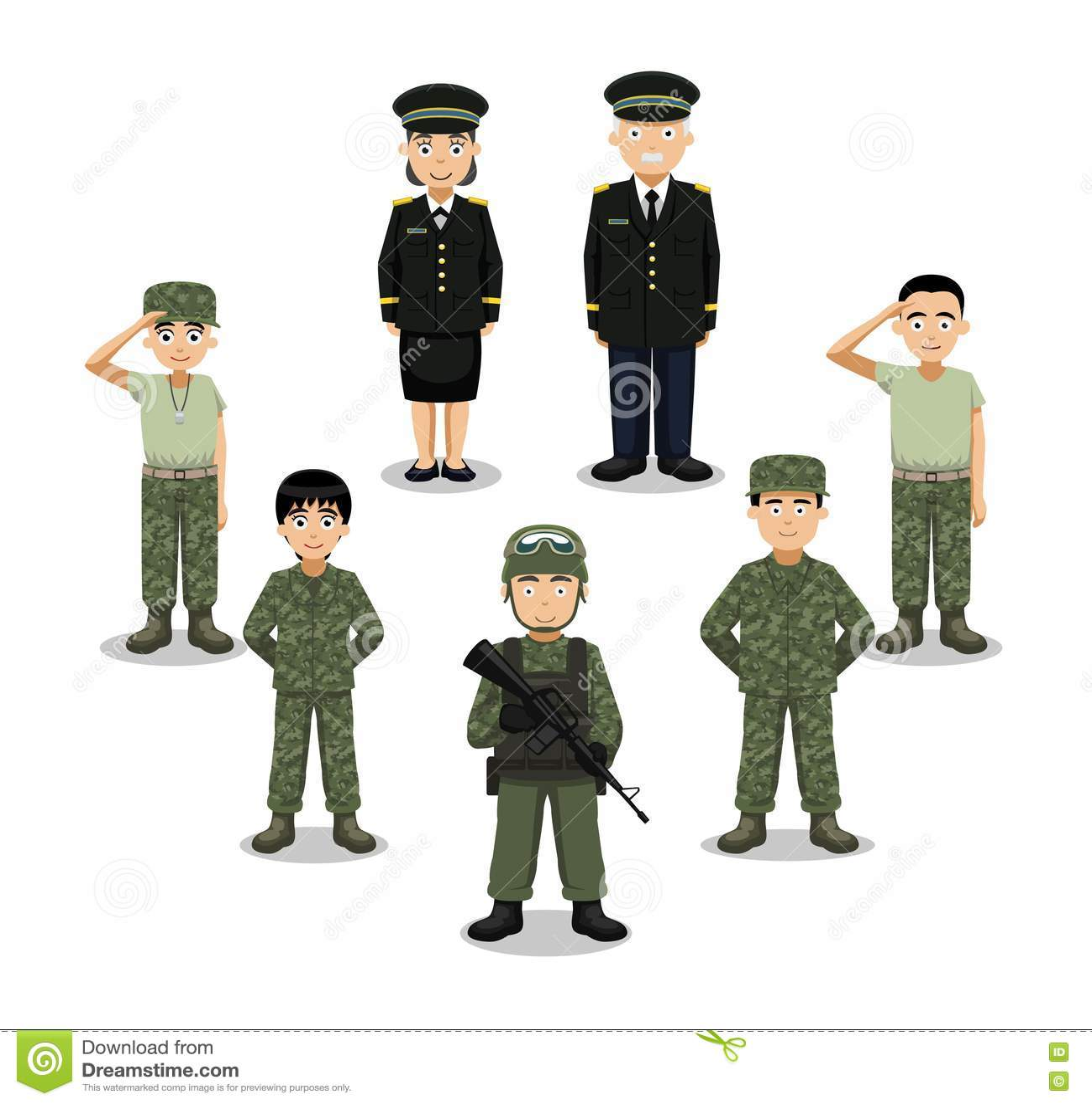 Military Characters Cartoon Vector Illustration Stock Vector