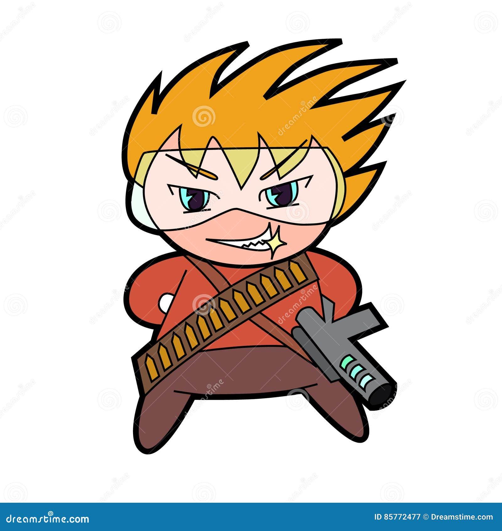 Military chibi boy character