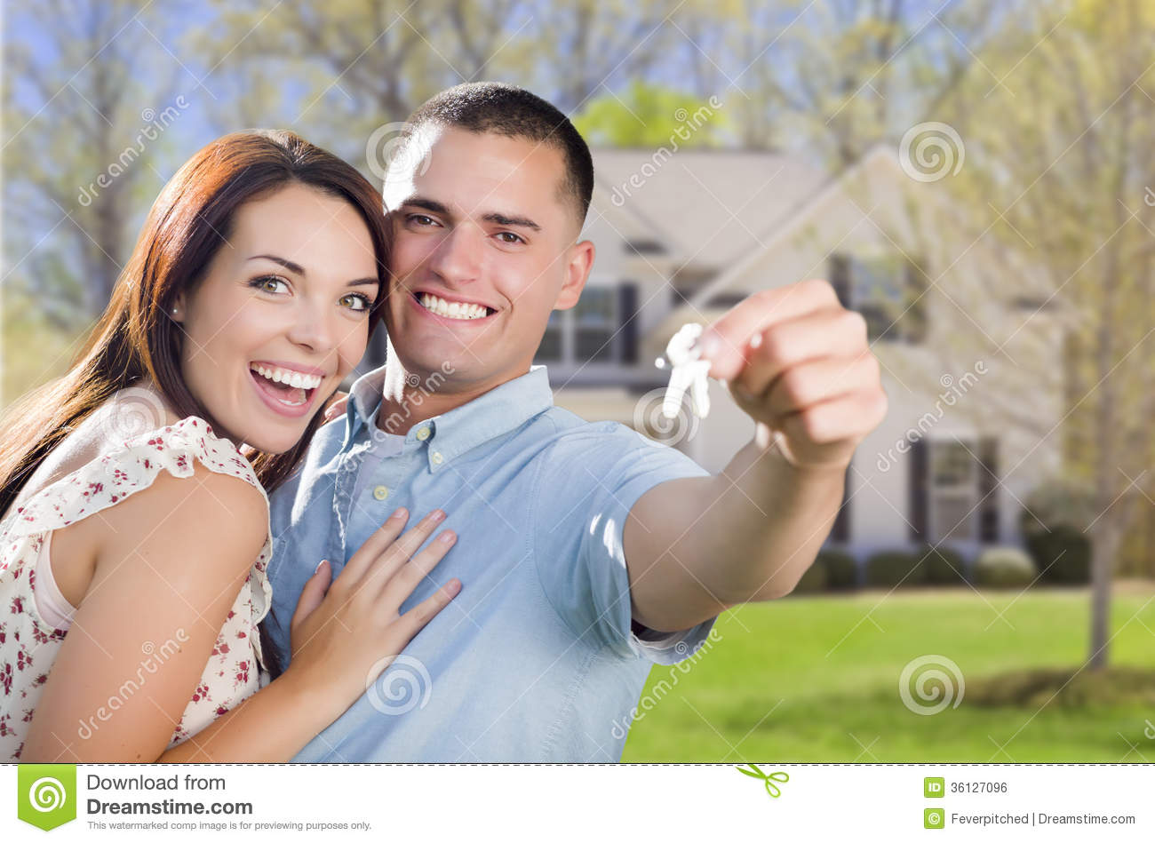 Military couple with house keys in front of new home royalty free stock image image 36127096 - Young couple modern homes ...