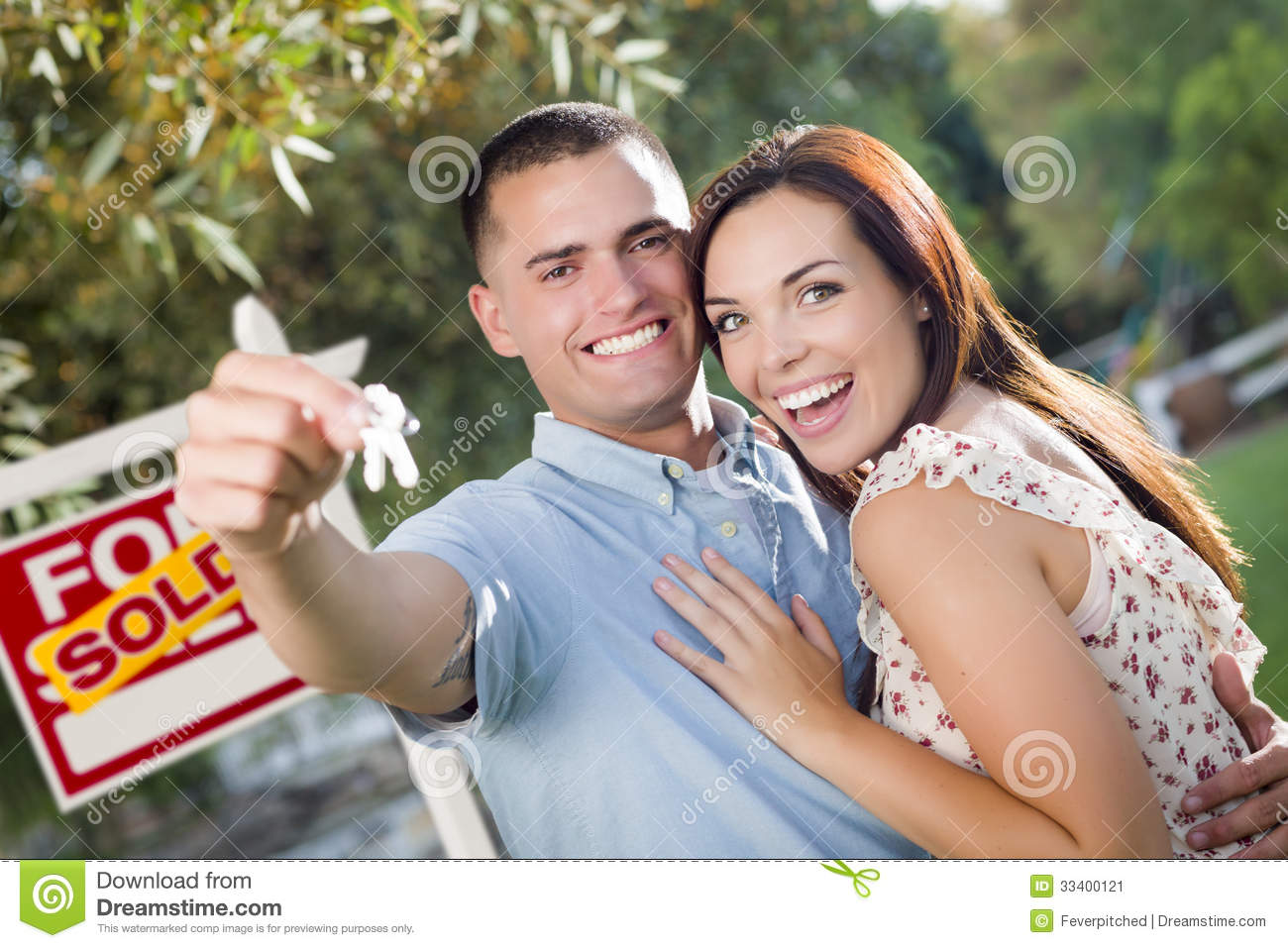 Excited Real Estate Agent Handing Over House Key Royalty