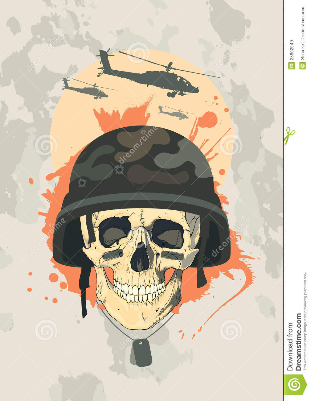 Military Design With Skull. Stock Vector - Illustration of ...
