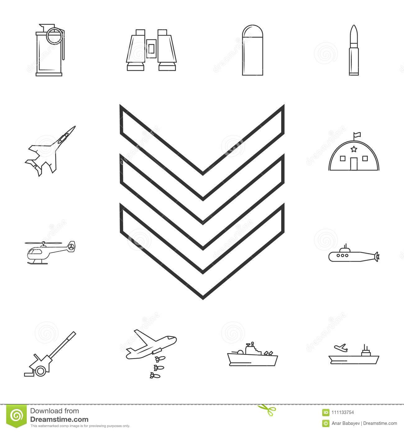 Military Emblem Rank Line Icon Element Of Popular Army Icon