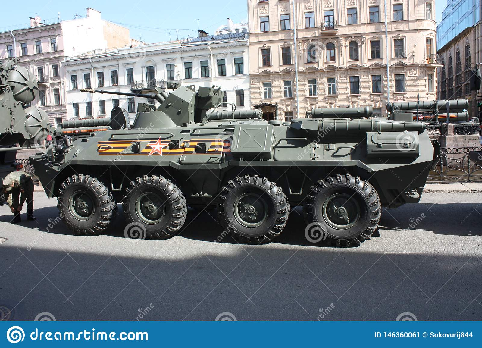 Military equipment before the parade