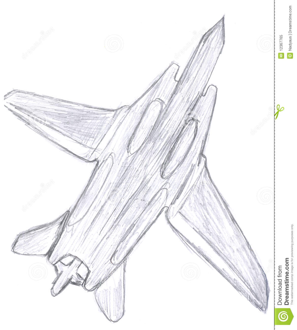 Fighter aircraft kids pensil drawing of plane
