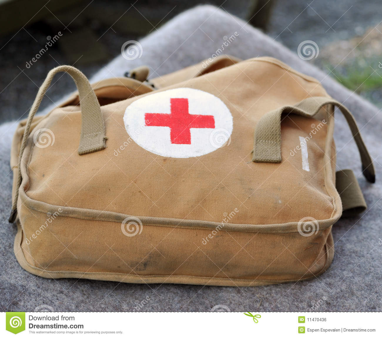 Military first aid kit stock photo  Image of blanket - 11470436