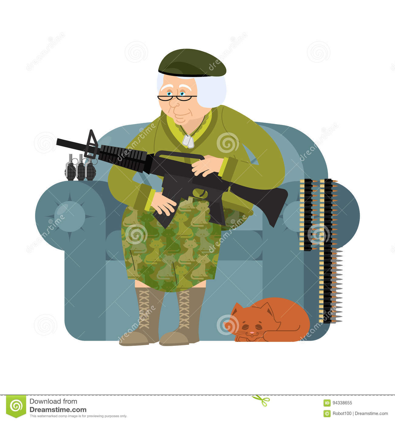 Military Grandmother With Gun. Army Old Woman In An