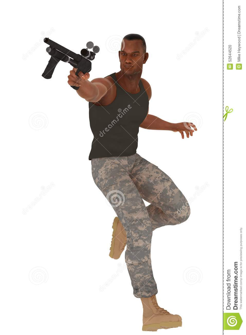 military guy in action pose stock photo image 52644520 soldier clipart black and white soldier clip art in black