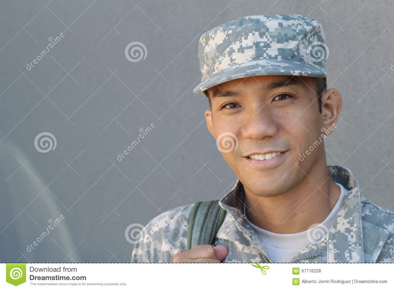 Military handsome Asian army man