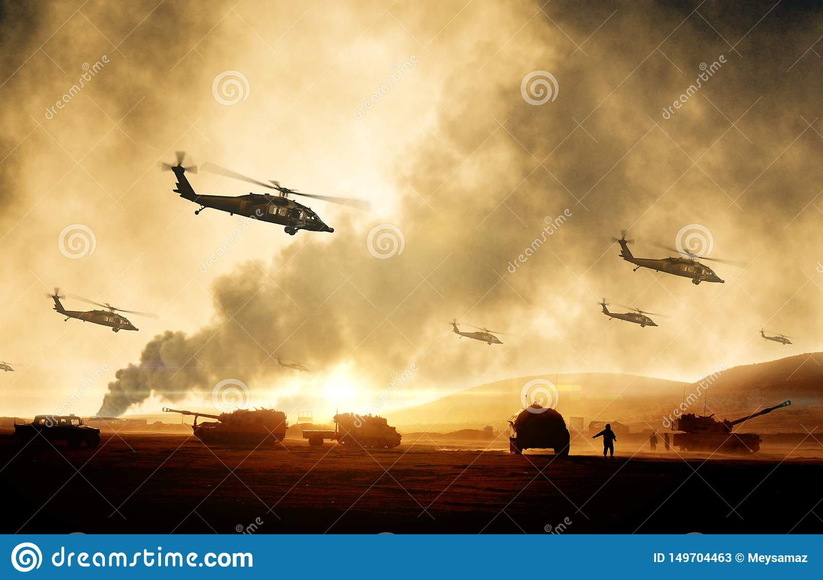 Military helicopters, forces and tanks in plane in war