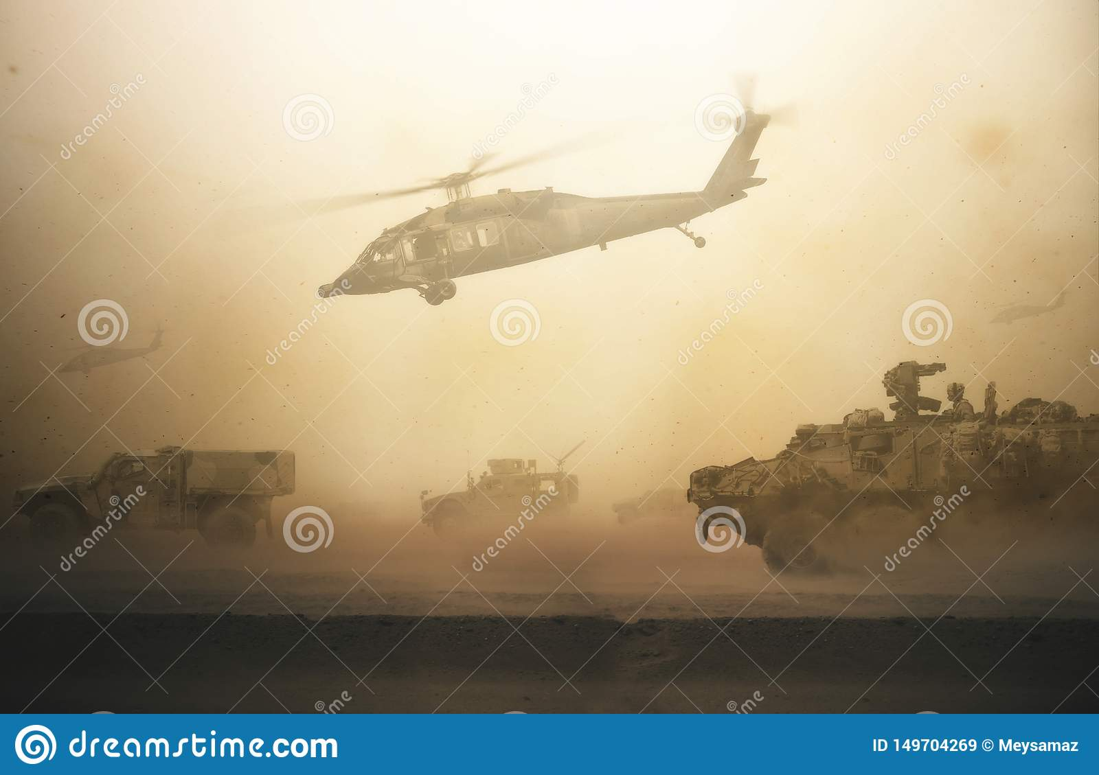 Military helicopters, forces and tanks between storm