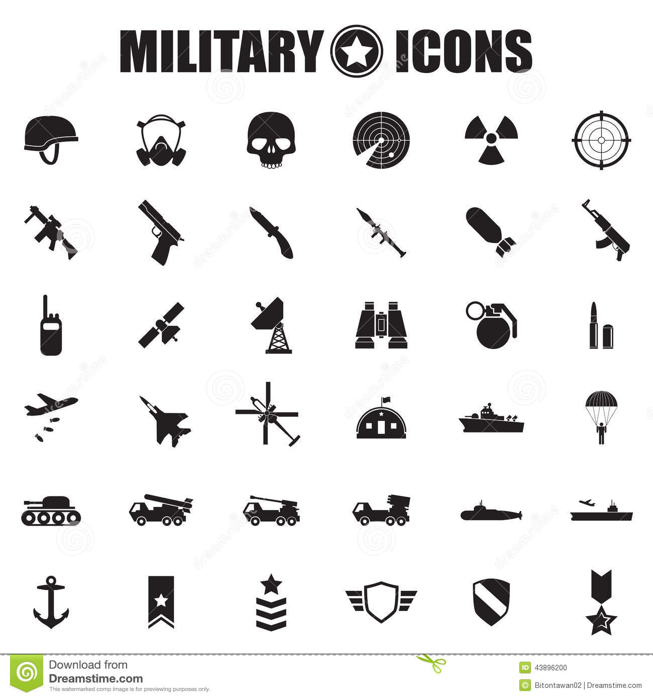 Military icons set stock vector illustration of insignia 43896200 military icons set buycottarizona