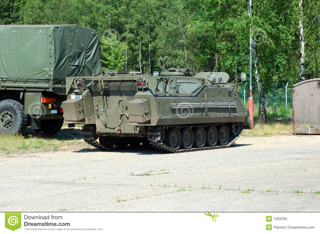Military industry, tank and truck.