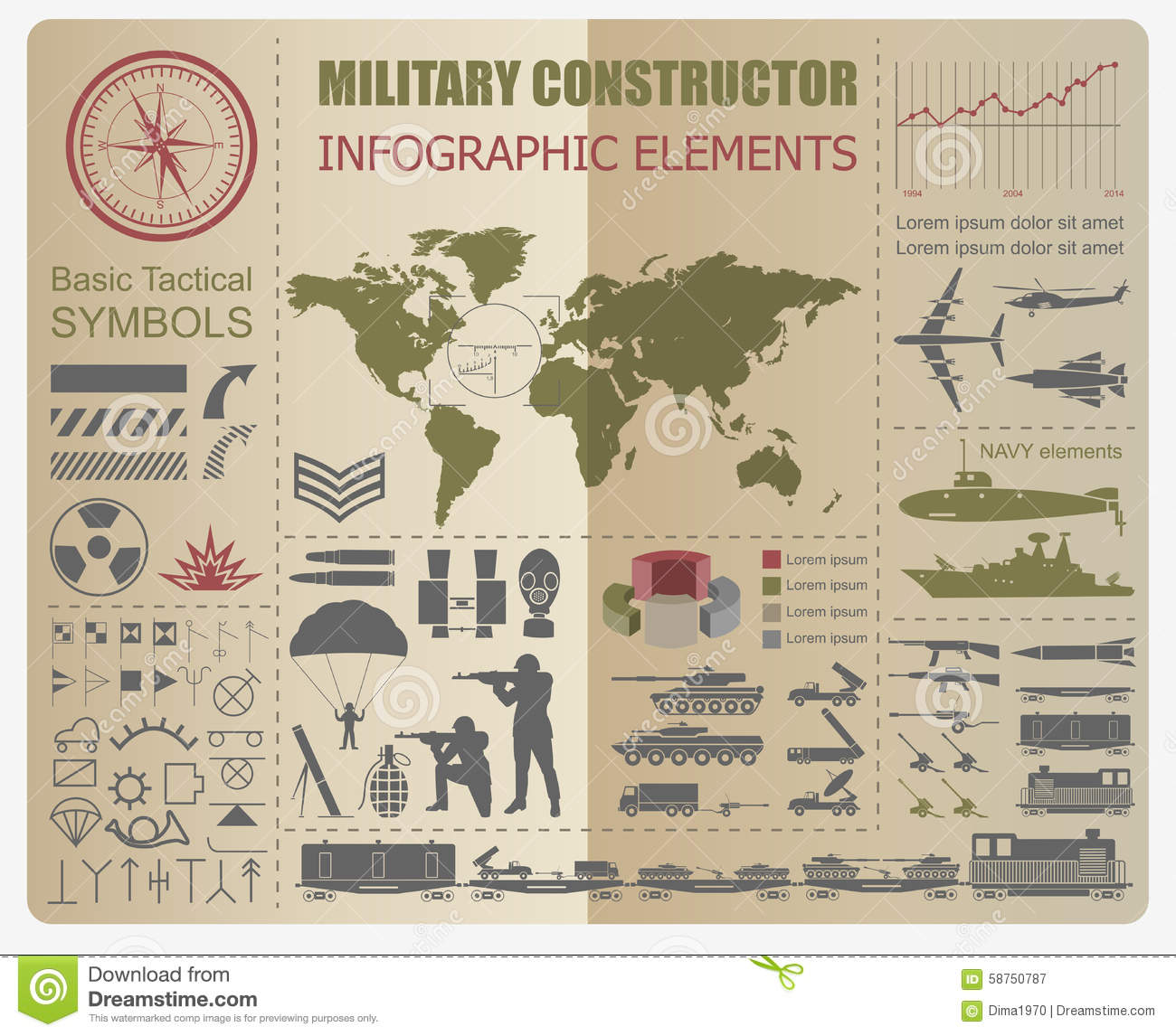 military infographic template  vector illustration with