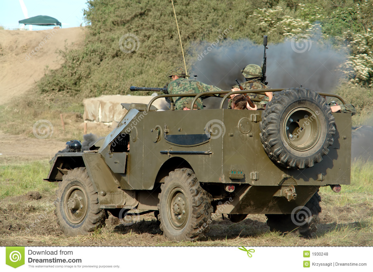 Military jeep, soldiers inside