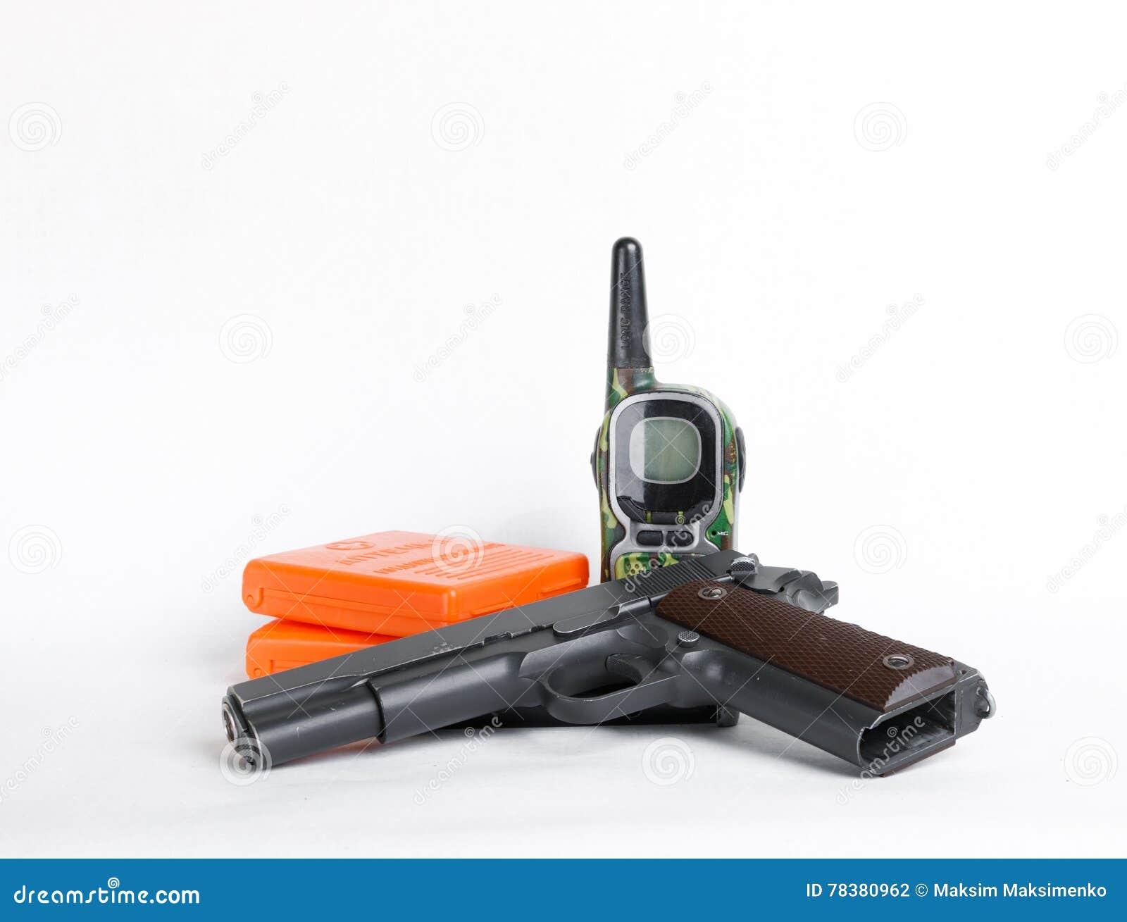 Military Kit, Gun And Radio Set On White Background Stock Photo