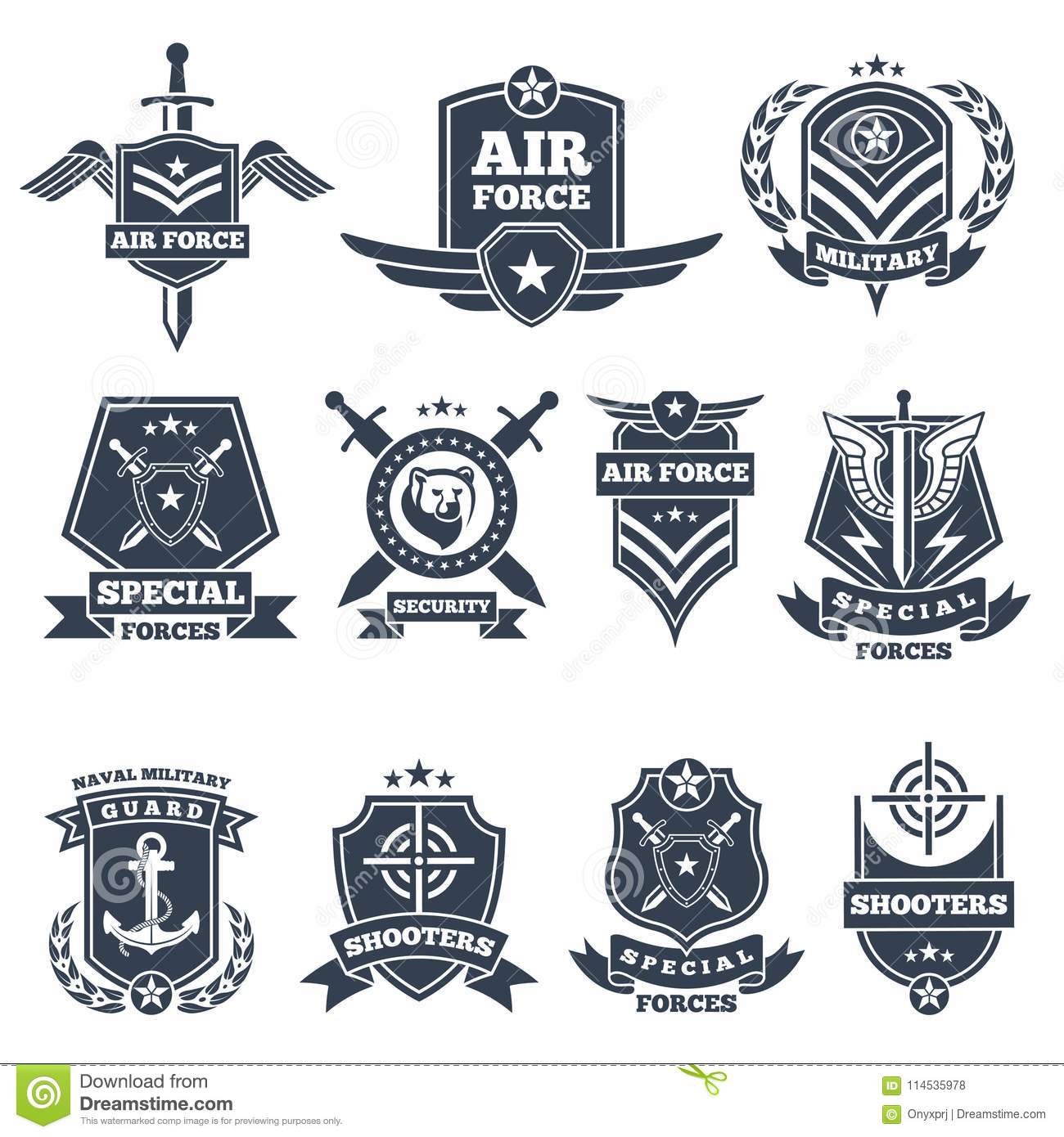 Military Logos And Badges  Army Symbols On White Background