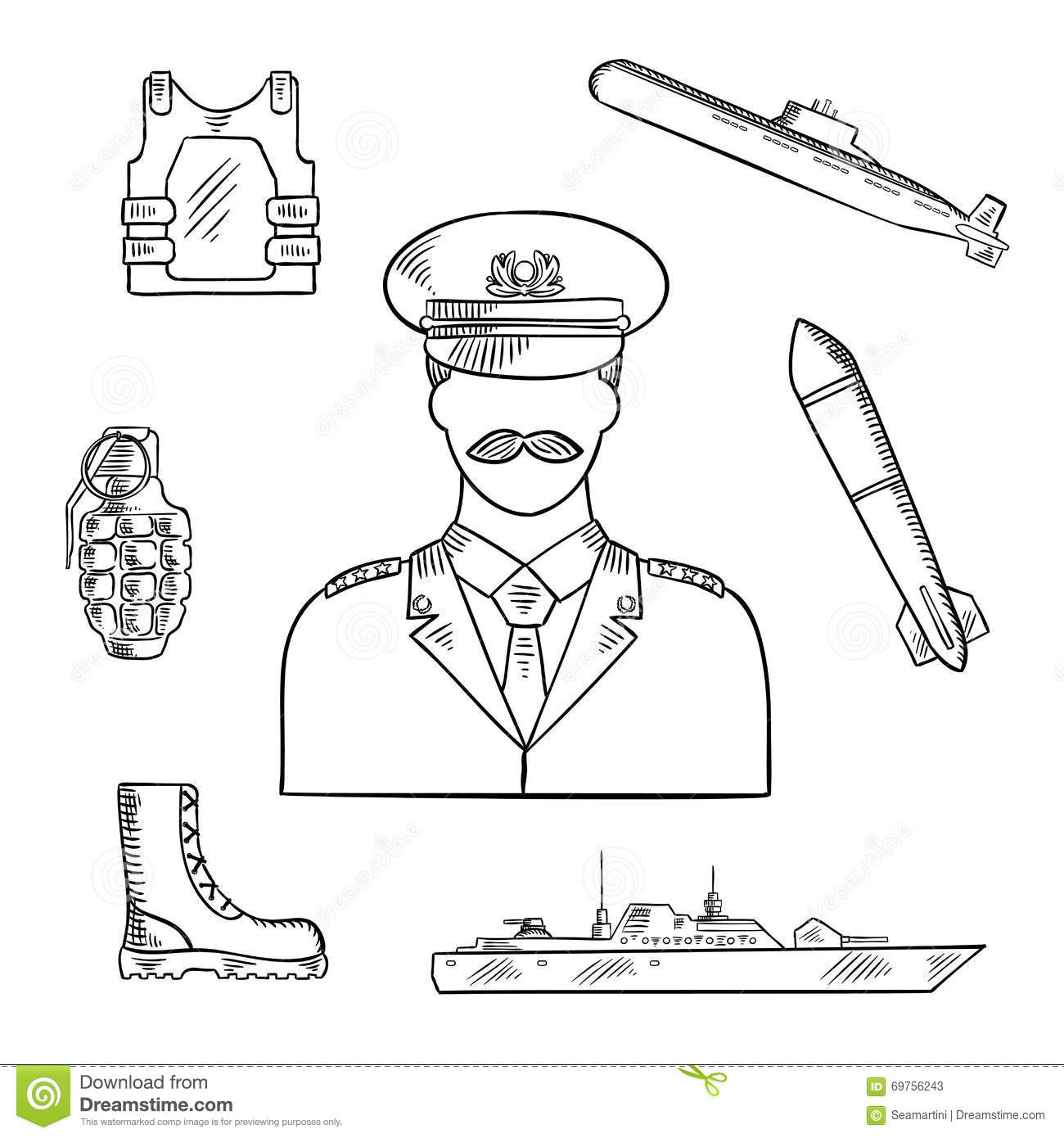Military Man With Army Symbols Sketch Icon Stock Vector