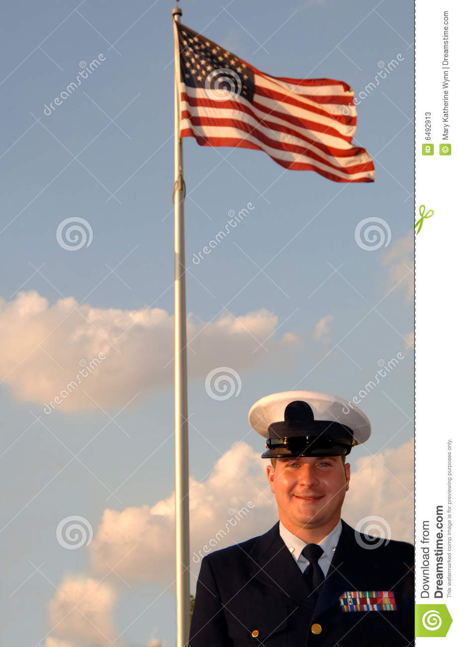 Military man and flag