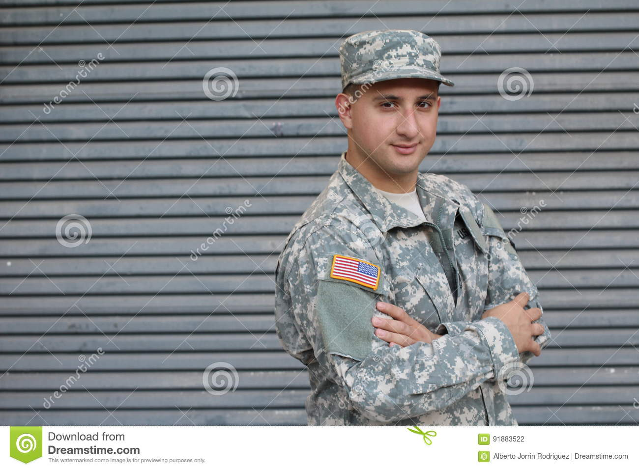 Military Man Isolated on Gray Background
