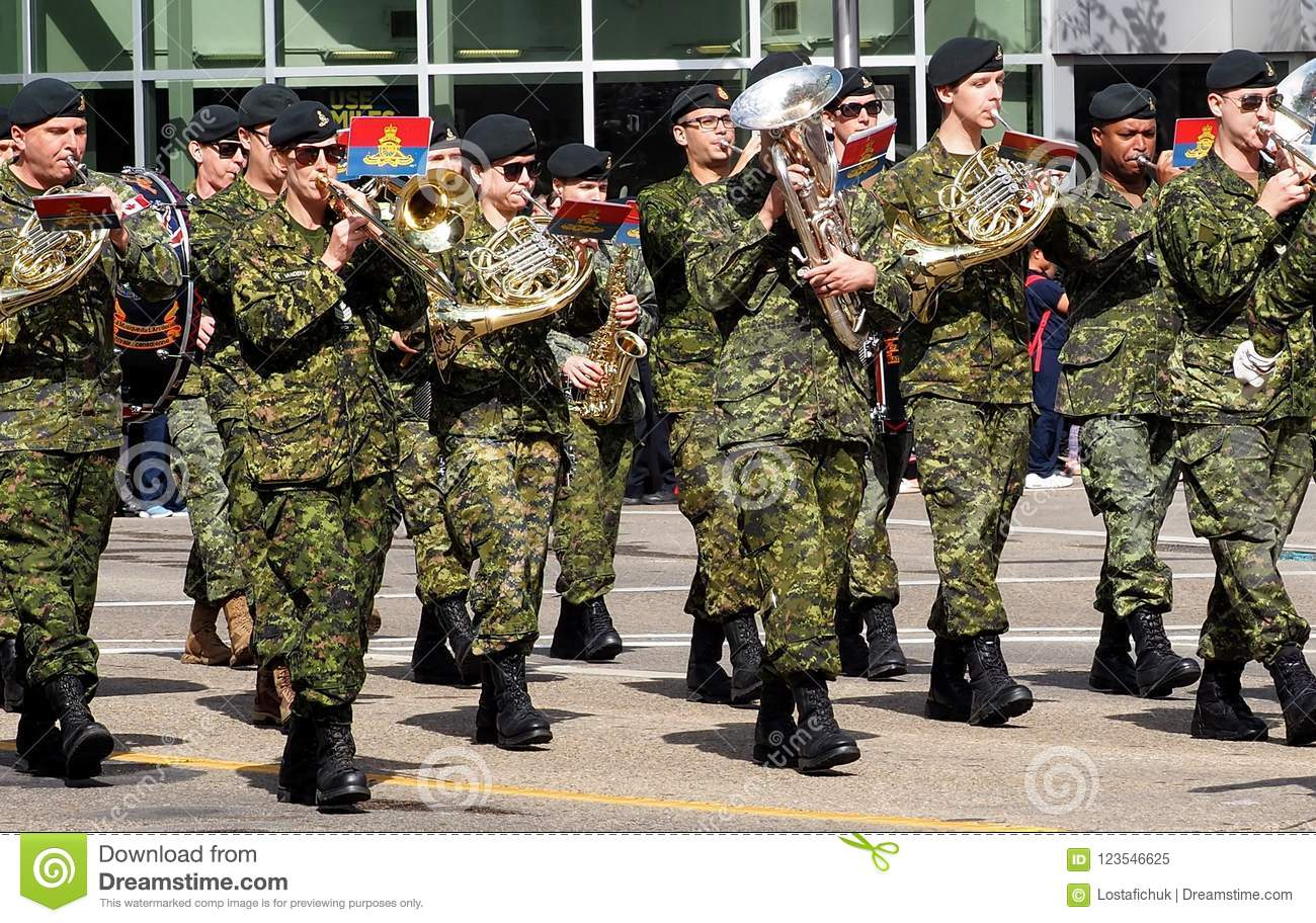 Military Marching In KDays Parade Edmonton Alberta Editorial Image