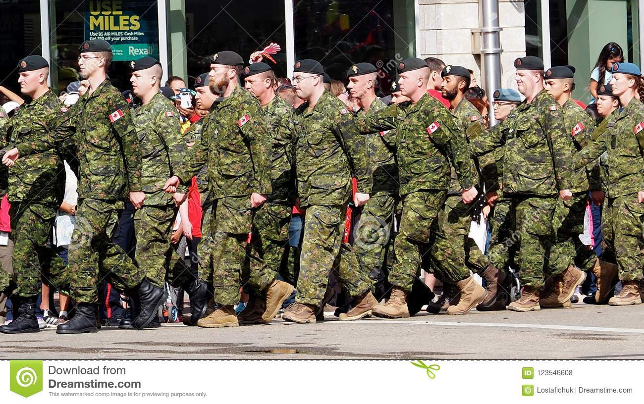 Military Marching In KDays Parade Edmonton Alberta Editorial Stock
